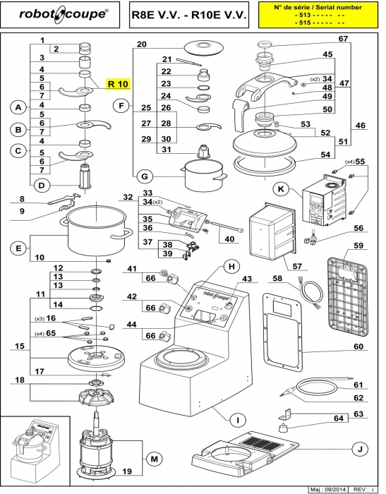 RC_R10_VV_E_PARTS_copy.700 robot coupe r10 v v e table top cutter mixer spare parts robot Wiring Diagram for Robot Coupe R2 Dice at mifinder.co